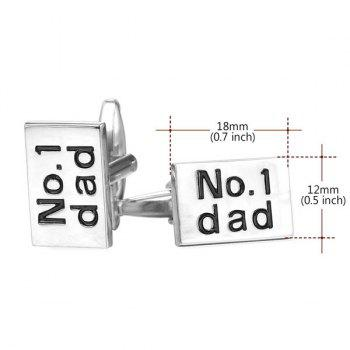 Alloy Rectangle Engraved Dad Cufflinks - SILVER WHITE