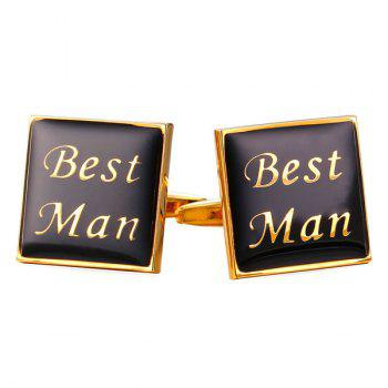 Alloy Embellished Engraved Best Man Cufflinks