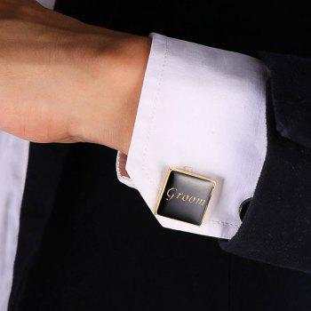 Alloy Engraved Groom Embellished Cufflinks - GOLDEN