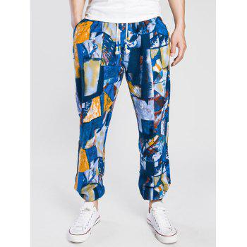Color Block Print Drawstring Cotton Linen Jogger Pants