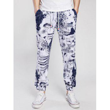 Scrawl Print Drawstring Cotton Linen Beam Feet Jogger Pants