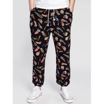 Drawstring Cotton Linen 3D Feather Print Jogger Pants