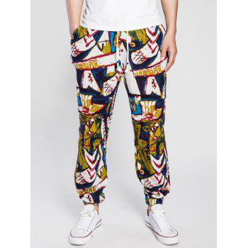 Drawstring Cotton Linen Abstract Print Jogger Pants