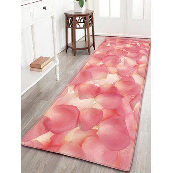 Water Absorption Flannel Bathroom Rug with Petals Print