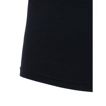 Slim Short Sleeves Printed T-Shirt - BLACK BLACK