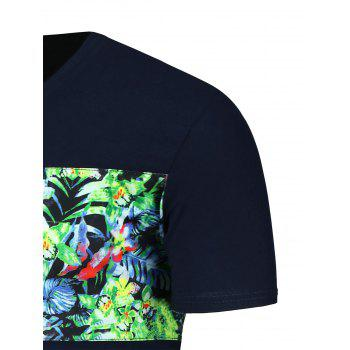 Crew Neck Tropical Floral Graphic T-Shirt - CADETBLUE CADETBLUE