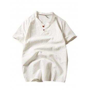 Short Sleeve Button Linen T-Shirt - OFF-WHITE 2XL
