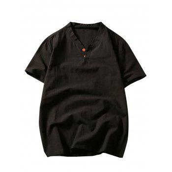 Short Sleeve Button Linen T-Shirt - BLACK BLACK