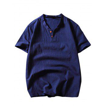 Short Sleeve Button Linen T-Shirt - DEEP BLUE 2XL