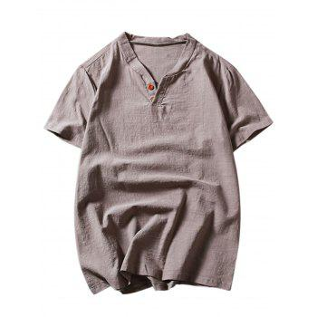 Short Sleeve Button Linen T-Shirt - GRAY 3XL