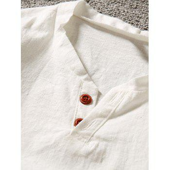 Short Sleeve Button Linen T-Shirt - 3XL 3XL