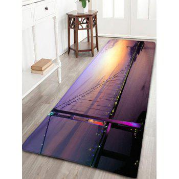 Night Scene Print Skid Resistant Flannel Bathroom Rug