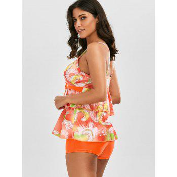 Printed Flounce Blouson Tankini Set - ORANGE S