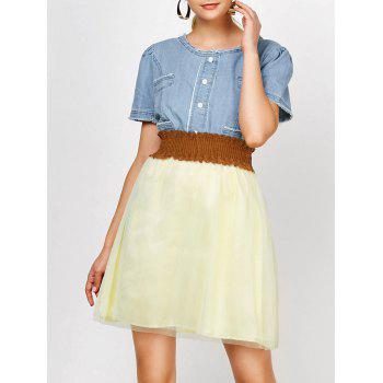 Elegant Scoop Neck Denim Splicing Short Sleeve Chiffon Dress With Belt For Women