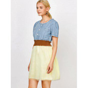 Elegant Scoop Neck Denim Splicing Short Sleeve Chiffon Dress With Belt For Women - COLORMIX COLORMIX