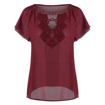 Raglan Sleeve Embroidery Cut Out Blouse