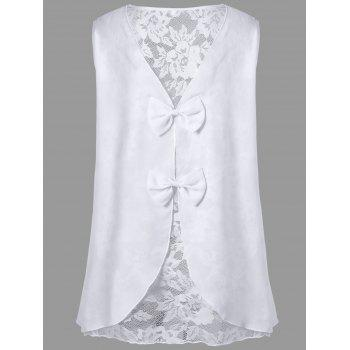 Bowknot Lace Panel Plus Size Sleeveless Top