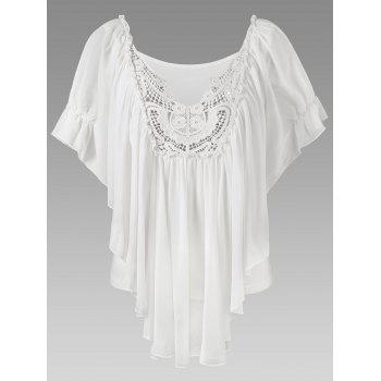 V Neck Lace Panel Ruffle Top