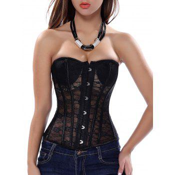 Strapless Lace Sheer Corset Top