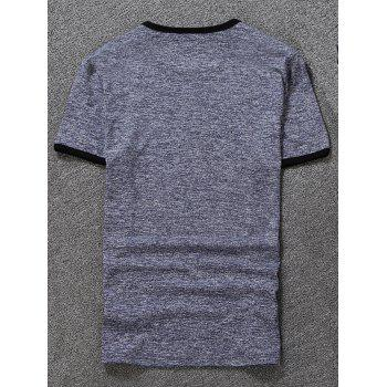 Space Dyed Ringer T-Shirt - BLUE GRAY BLUE GRAY