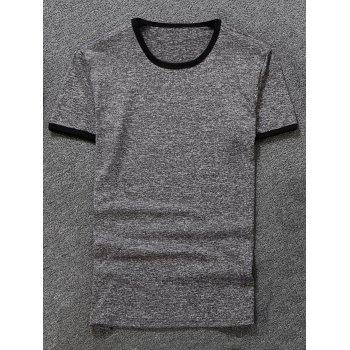 Space Dyed Ringer T-Shirt - GRAY GRAY