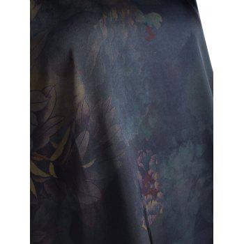 Floral Printed Knee Length Plus Size Dress - PURPLISH BLUE 2XL