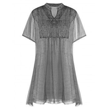 Asymmetrical See Thru Rhinestone Embellished Mini Dress
