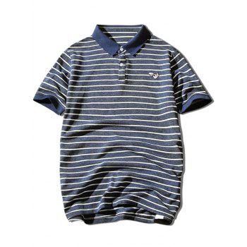 Hand Embroidered Striped Polo Shirt - CADETBLUE XL