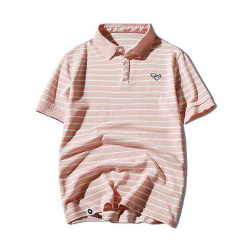 Hand Embroidered Striped Polo Shirt - PINK 2XL