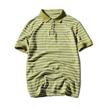 Hand Embroidered Striped Polo Shirt - YELLOW GREEN YELLOW GREEN