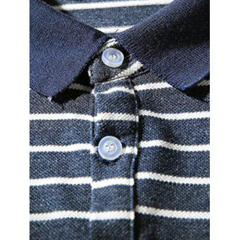 Hand Embroidered Striped Polo Shirt - L L