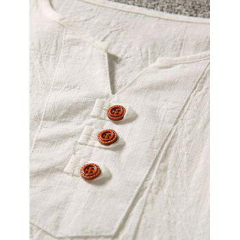 Side Slit Button Notch Neck Tee - OFF WHITE OFF WHITE