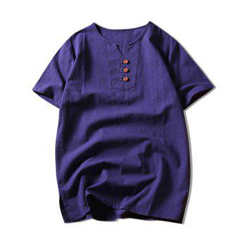 Side Slit Button Notch Neck Tee - PURPLE PURPLE
