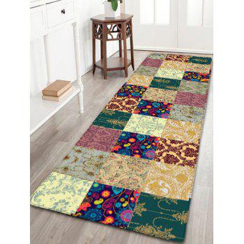 Plant Plaid Pattern Flannel Skidproof Bathroom Rug