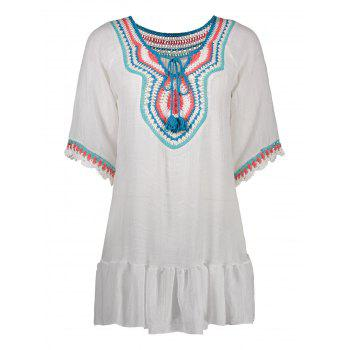 Embroidered Flounce Mini Tunic Cover Up Dress
