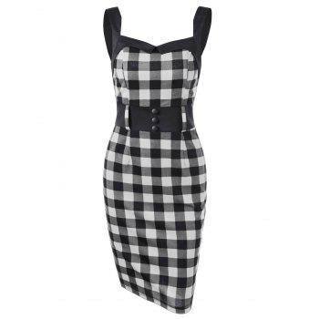 Button Detail Plaid Pencil Dress