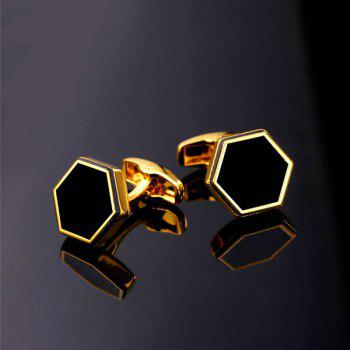 Hexagon Geometric Alloy Cufflinks -  GOLDEN