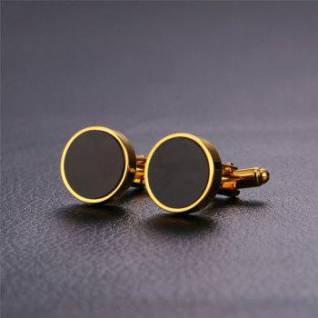 Alloy Circle Embellished Cufflinks - GOLDEN