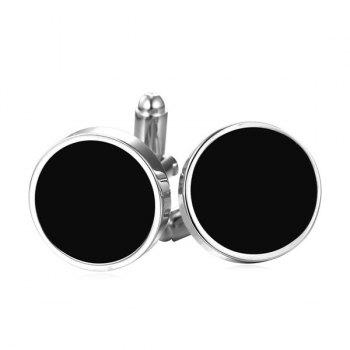 Alloy Circle Embellished Cufflinks - SILVER WHITE SILVER WHITE