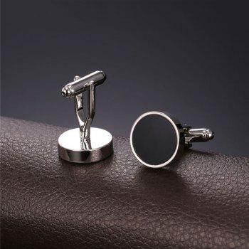 Alloy Circle Embellished Cufflinks -  SILVER WHITE