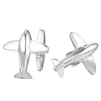 Alloy Embellished Airplane Cufflinks - SILVER WHITE SILVER WHITE