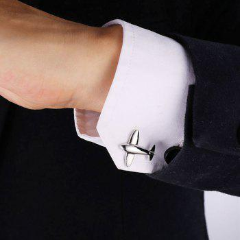 Alloy Embellished Airplane Cufflinks -  SILVER WHITE