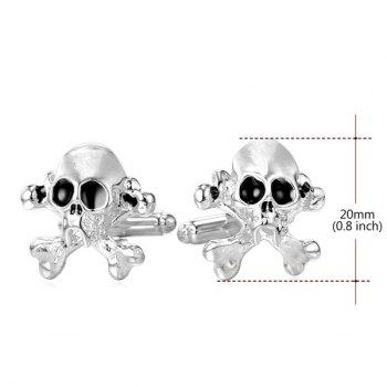 Embellished Skull and Crossbones Cufflinks -  SILVER WHITE