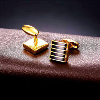 Alloy Embellished Geometric Strip Cufflinks -  GOLDEN