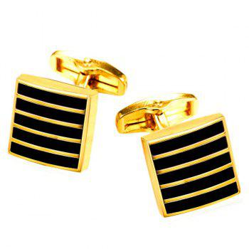 Alloy Embellished Geometric Strip Cufflinks - GOLDEN GOLDEN