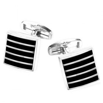 Alloy Embellished Geometric Strip Cufflinks - SILVER WHITE SILVER WHITE