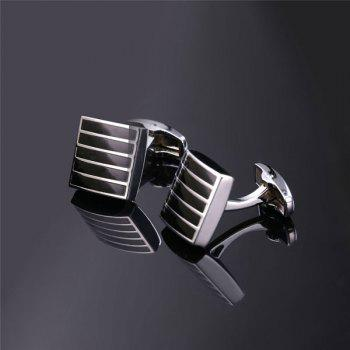 Alloy Embellished Geometric Strip Cufflinks -  SILVER WHITE