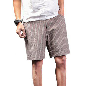 Zipper Fly Vertical Stripes Shorts