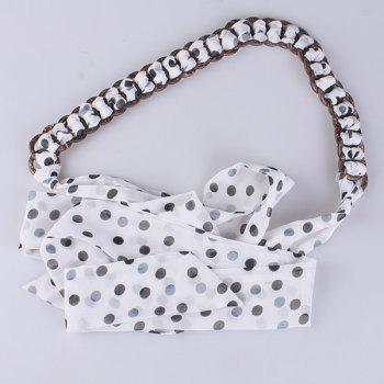 Polka Dot Embellished Chiffon Decorative Waist Belt - WHITE WHITE