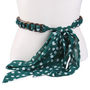 Polka Dot Embellished Chiffon Decorative Waist Belt - GREEN GREEN